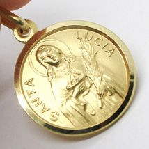 18K YELLOW GOLD HOLY ST SAINT SANTA LUCIA LUCY ROUND MEDAL MADE IN ITALY, 15 MM image 3