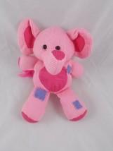 Pink Elephant Bean Plush Knit Plushland Warming Hearts Stuffed Animal toy - $9.95