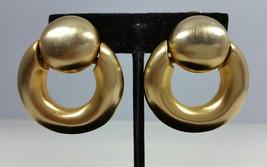 Vintage Signed Clara Studio Inc Gold Tone Door Knocker Drop Clip On Earr... - $189.99