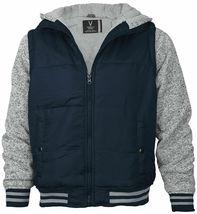 Vertical Sport Men's Sherpa Fleece Lined Two Tone Zip Up Hoodie Jacket image 14