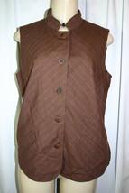 J Jill Sz 10 Womens Brown Pinstriped Casual Cotton Linen Blend Vest - $19.30