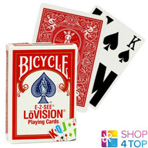 BICYCLE E-Z-SEE LOVISION PLAYING CARDS DECK RED COLOR CODE MADE IN USA NEW - $7.21