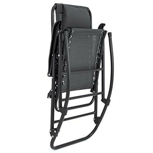 Folding Rocking Chair Black Zero Gravity Sling Back Outdoor Lawn Patio Furniture