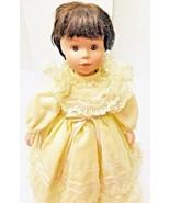"""Vintage Porcelain Doll 17"""" Brunette Hair Brown Eyes Girl Signed 4645/20000  - $24.74"""