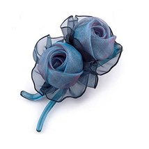 [Dark blue] Double-Rose Hair Styling Tool Barrette & Ponytail Holder Hair Clip