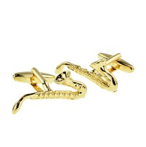 Gold Plated Saxophone Music Instrument cufflinks gift boxed