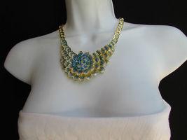 Nuevo Mujer Grande Dorado Flor Tendencia Jewelry Azul Diamantes Collar image 7