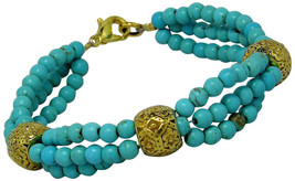 Drop of Silver Stunning Turquoise (Reconstructed) and Brass Bracelet, Si... - $119.14