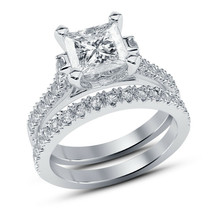 14K White Gold Over 1.45CT. T.W. Diamond Engagement Bridal Ring Set - $106.49