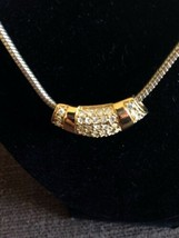 Signed ROMAN  Rhinestone Necklace Slider On Snaky Chain - $29.90