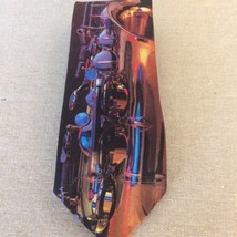 Original Ralph Marlin Saxaphone 1992 Goodell Music Necktie Art By Wil D West - $16.83
