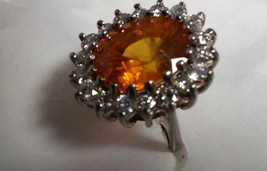 Orange Sapphire 11.67ct Oval Ring w/ Diamonds GIA Pirate Gold Coins Jewelry - $9,950.00