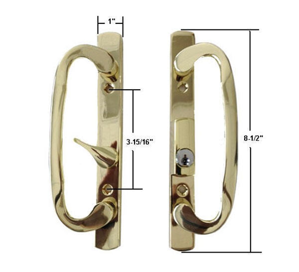 Primary image for Sash Controls Mortise Style Patio Handle, B-Position, Keyed, Brass
