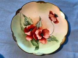 Handpainted Porcelain Poppies Cabinet Plate Scallopped Rosenthal - $19.99