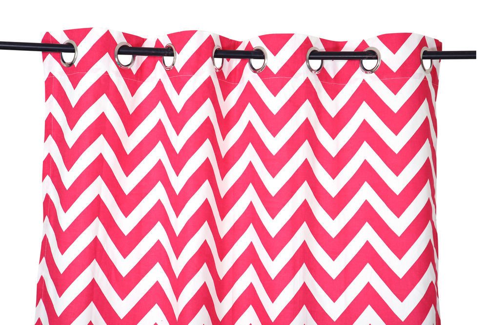 Primary image for 55 x 98 in. Grommet Curtain Chevron Print Fuchsia