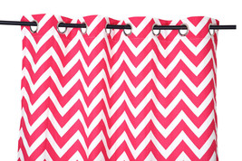 55 x 98 in. Grommet Curtain Chevron Print Fuchsia - $21.35
