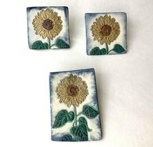 Sunflower Ceramic Brooch Pierced Earrings Set Vintage Floral Square Rect... - $16.79