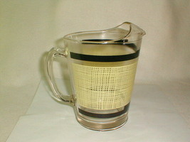 Mid century 1950s bar beer pitcher heavy glass burlap print design rare - $55.00