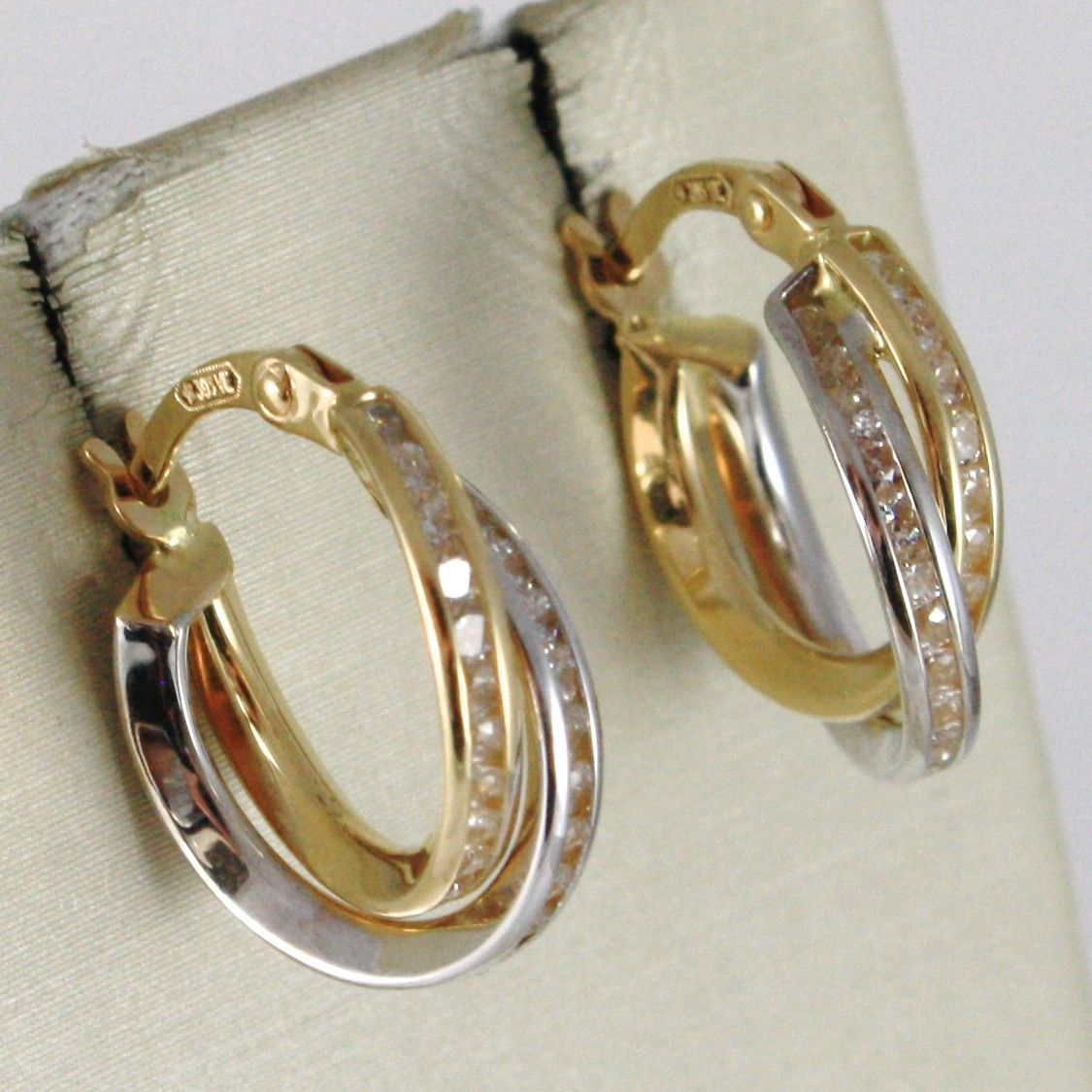 18K WHITE & YELLOW GOLD DOUBLE PENDANT CIRCLE HOOPS EARRINGS, TWISTED, ROPE