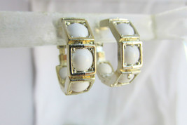 White Bead Hoop Earrings Clips Acrylic Gold Plate Summer Perfect - $11.70