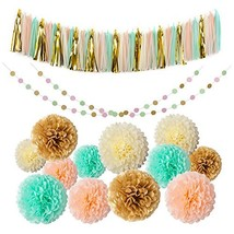 Mint Gold Glitter Peach Cream Tissue Pom Poms 54 Pcs Paper Flowers Tissu... - $19.64