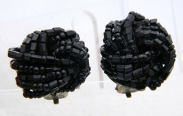 Vintage Italy Made Gold Tone Glass Black Seed Bead Clip Earrings - $19.80