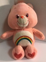 Care Bears Plush 8 In Cheer Bear  2002 Pink  Rainbow Tummy Kids Stuffed ... - $9.49