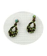 Charming retro Peridot Swarovski crystal oval drop pierced earrings - $19.00