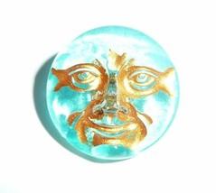 Cool Czech Glass Shank Moon Face Button 18mm - Silky Aqua w/ Gold Color ... - $6.43