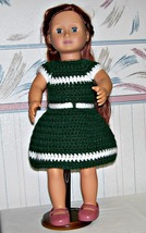 American Girl Green-White Dress, Handmade Crochet, 18 Inch Doll - $22.00