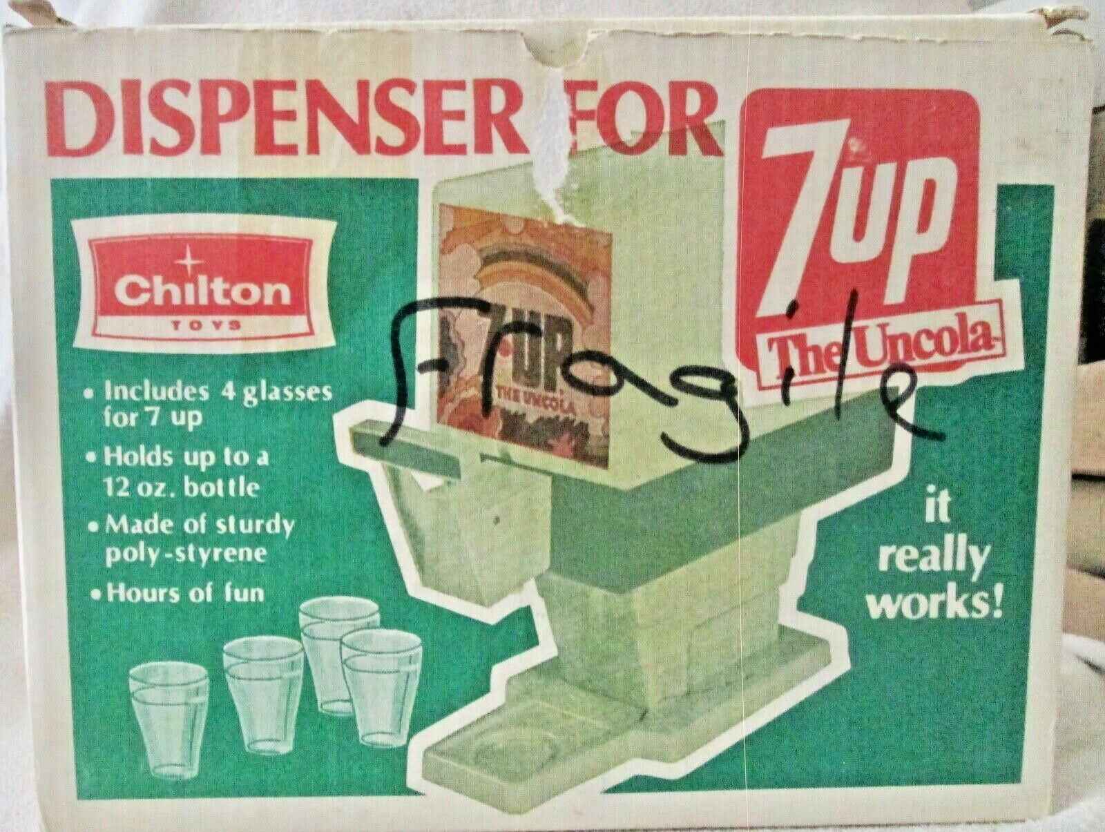 Primary image for 7-UP UnCola Soda Dispenser with original illustrated box 1960's-70's