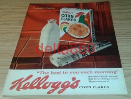 "1961 10"" x 13"" Original Color Print Ad Kellogg's Corn Flakes - $12.95"
