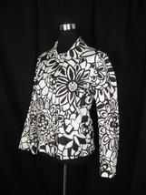 Chico's Mod Boho Floral Abstract Snap-Front Jacket Size 1 Wm M Medium - $14.50