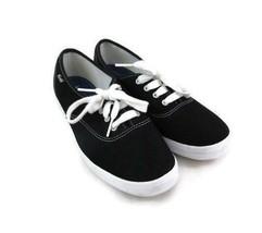 Keds Women Black Canvas Classic Sneaker Size 7.5 M Lace Up Casual Shoe - $26.24 CAD
