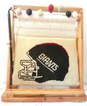 Vintage New York Giants Helmet Woven Logo Wooden Weaving Loom Collectible Gift - $23.38