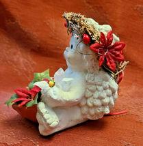 DREAMSICLE, Angel Cast Art Figurine, Kristin 1994 Flower Poinsettia Berries image 4