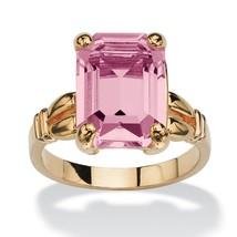 Emerald-Cut Birthstone 14k Gold-Plated Ring-June-Simulated Alexandrite - $33.94