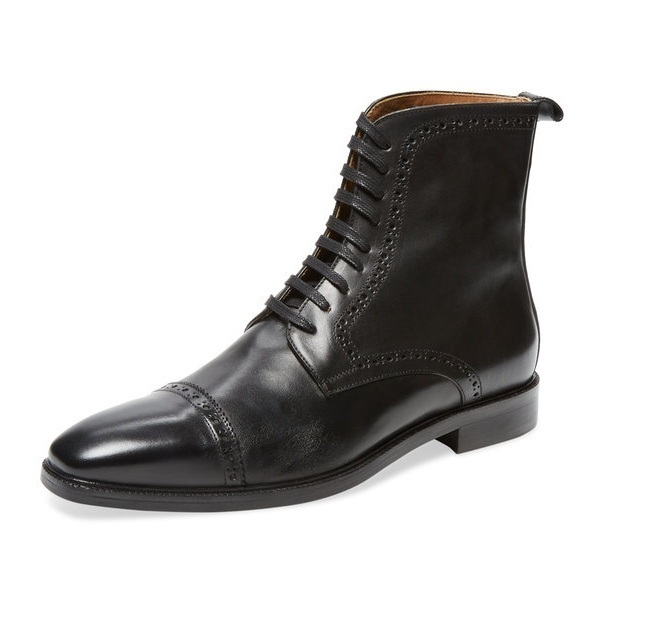 Primary image for Handcrafted Mens Black Genuine Leather High Ankle Rounded Cap Toe Lace Up Boots