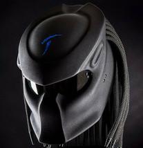 Predator Motorcycle Helmet Black Text Blue Carving Matte (Dot & Ece Certified) - $250.00