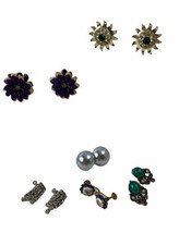 Vtg Lot Screwback Earrings Rhinestone Enamel Various Styles 6 Pair - $13.98