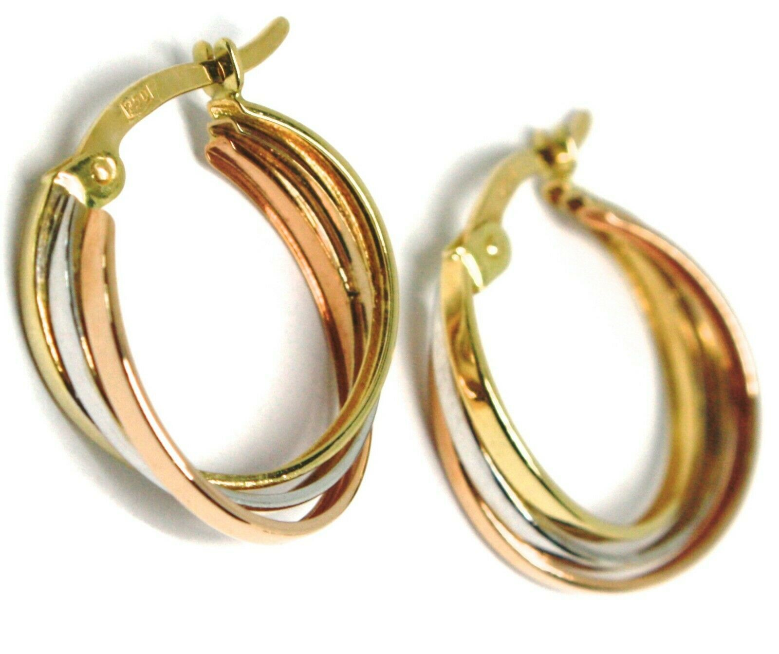 Earrings Gold Hoop White, Pink, Yellow 750 18K, Braid, Squares 1.5 CM