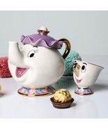 Cute Cartoon Beauty And The Beast Teapot Mug Mrs Potts Chip Cup Tea Pot Cup - $56.17