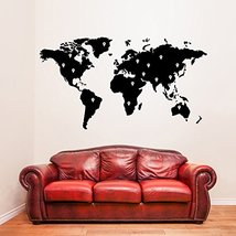 ( 71'' x 39'') Vinyl Wall Decal World Map with Google Dots / Earth Atlas Shiluet - $73.60