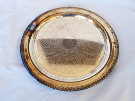 "VTG Leonard Silver Plated 15"" Serving Tray round floral sroll design - $94.05"