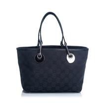 Pre-Loved Gucci Black Jacquard Fabric GG Eclipse Tote Bag Italy - $387.09