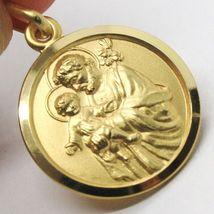 18K YELLOW GOLD ST SAINT SAN GIUSEPPE JOSEPH JESUS MEDAL MADE IN ITALY, 15 MM image 3