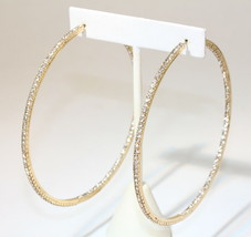 "eli k Gold Plate & Clear Crystals Inside / Out 2 1/3"" Hoop Earrings - $15.29"