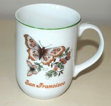 Vintage 80s San Francisco Mug - White With Green Trim And Butterfly - $9.49