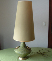 Vintage 1970s avocado green large table lamp  with original shade plasto... - $198.00