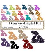 Glitter Dragon Digital Kit 1-Art Clip-Gift Tag-Jewelry-T shirt-Notebook-... - $1.99